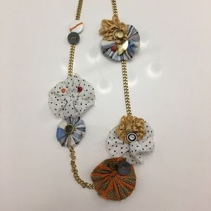 Anthropologie-Cloth Floral Statement Necklace